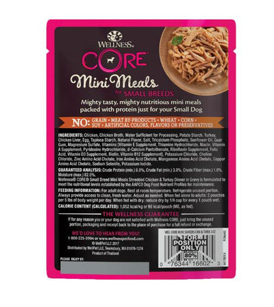BUY 3 FREE 1: Wellness CORE Small Breed Mini Meals Shredded Chicken & Turkey Dinner in Gravy Dog Food Mixer