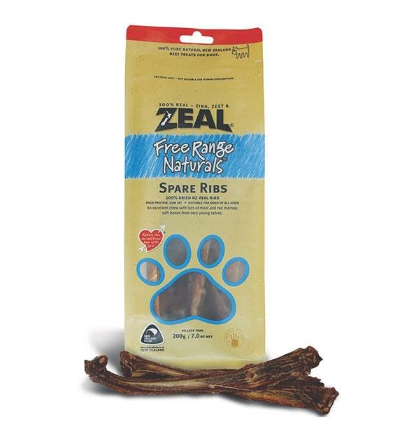 Zeal Free Range Air Dried Veal Spare Ribs Dog Treats