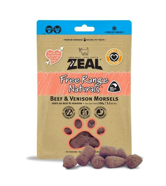 BUY 2 FREE 1: Zeal Free Range Freeze Dried Beef & Venison Morsels Dog Treats