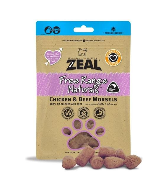 Zeal Free Range Freeze Dried Chicken & Beef Morsels Cat and Dog Treats