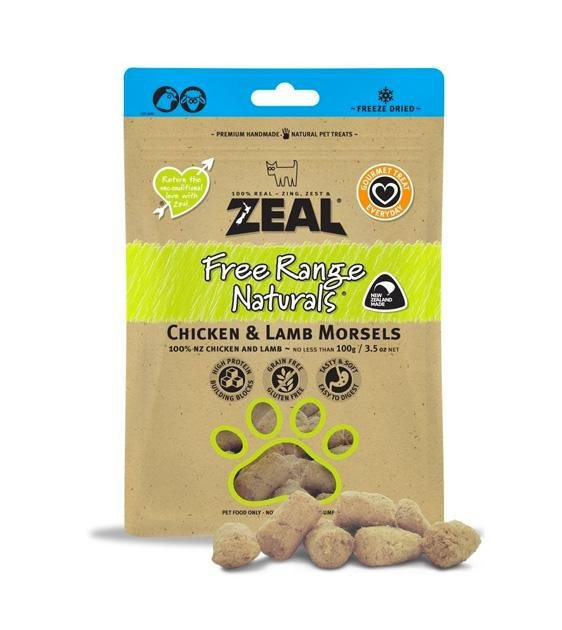 Zeal Free Range Freeze Dried Chicken & Lamb Morsels Cat and Dog Treats