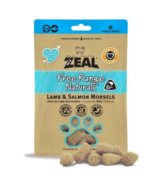 Zeal Free Range Freeze Dried Lamb & Salmon Morsels Cat and Dog Treats