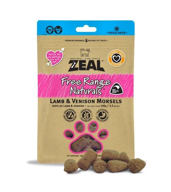 Zeal Free Range Freeze Dried Lamb & Venison Morsels Cat and Dog Treats