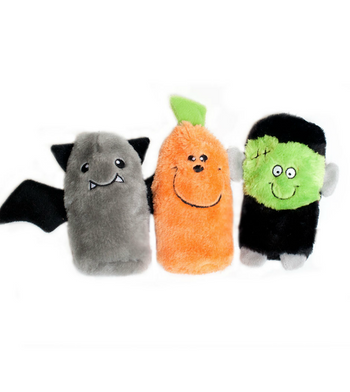 ZippyPaws Buddie 3-Pack (Frankenstein, Pumpkin, Bat) Dog Toys