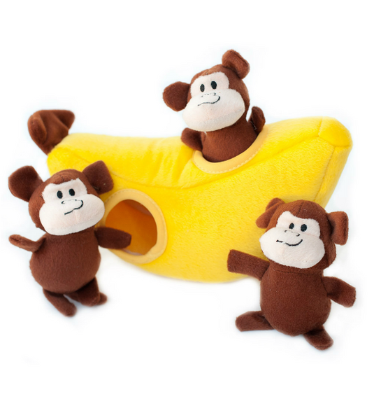 ZippyPaws Burrow Monkey 'n Banana Dog Toys