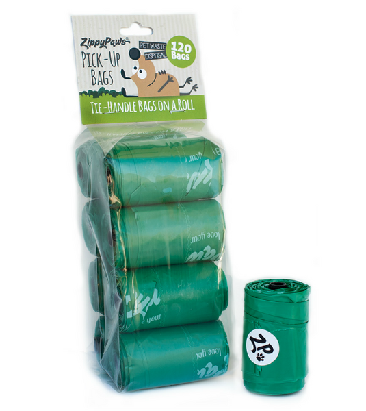 ZippyPaws Dog Poop Waste Pick Up Bags with Handles