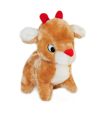 ZippyPaws Plush Holiday Deluxe Reindeer Dog Toys