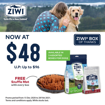 45% OFF + FREE TREAT & MAT [SAVER BUNDLE]: ZIWI Peak Box of Thanks (Lamb)