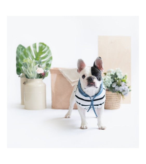 Ohpopdog Blue Linen Striped Hoodie Dog Apparel