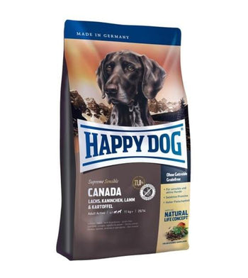 10% OFF + FREE TASTING PACK: Happy Dog SENSIBLE Canada Salmon, Rabbit, Lamb & Potato Grain Free Dry Dog Food