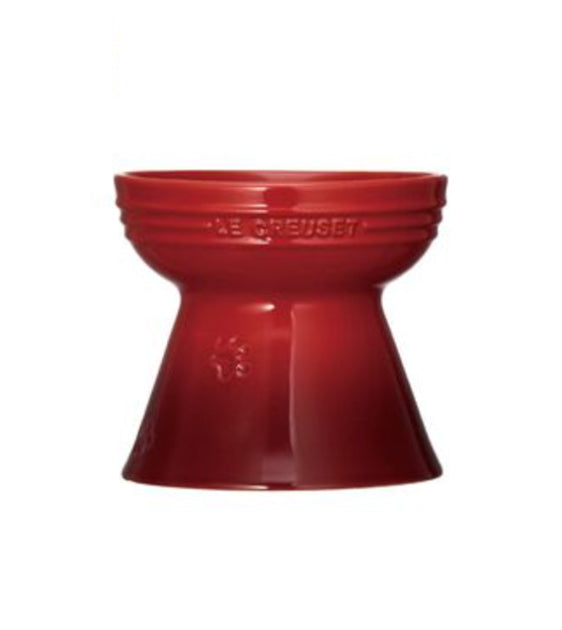 Le Creuset Handcrafted Cherry Red Footed Pet Bowl