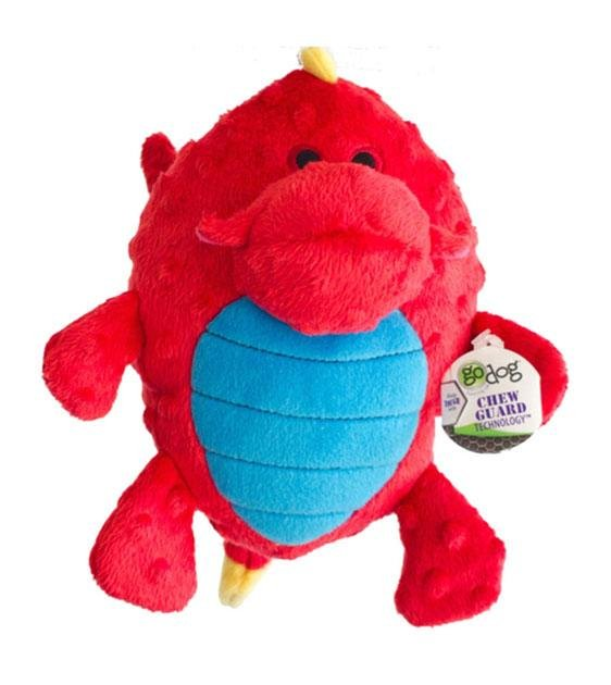 goDog Red Grunter Dragons With Chew Guard Technology Dog Toy