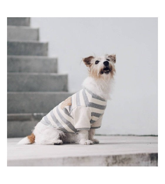 Ohpopdog Grey Striped Corkboard Tshirt Dog Apparel