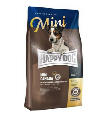 10% OFF + FREE TASTING PACK: Happy Dog MINI Canada Salmon, Rabbit, Lamb & Potato Grain Free Dry Dog Food