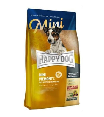 10% OFF + FREE TASTING PACK: Happy Dog MINI Piemonte Duck, Seafish & Sweet Chestnut Grain Free Dry Dog Food