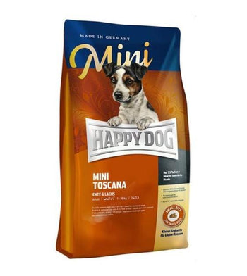 10% OFF + FREE TASTING PACK: Happy Dog MINI Toscana Duck & Salmon Dry Dog Food