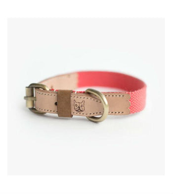 ohpopdog Natural Leather with Salmon Pink Hemp Cotton Dog Collar