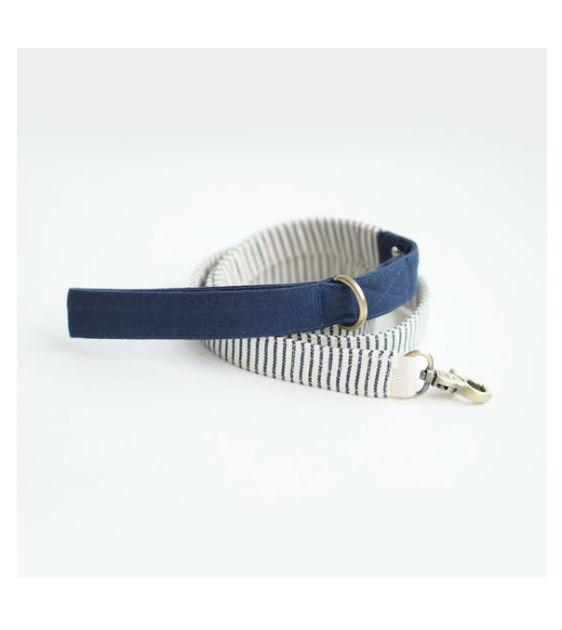 ohpopdog Oh! Basic Blue Nautical Striped Dog Leash