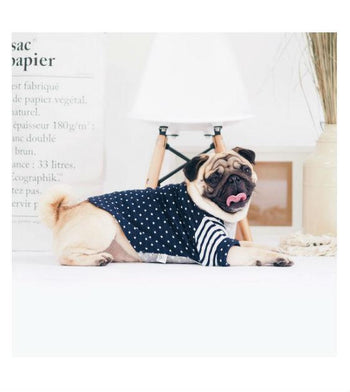 ohpopdog Oh! Basic Boat Neck Navy Blue Polka Dot Tshirt Dog Apparel