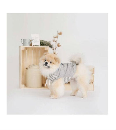 ohpopdog Oh! Basic Hoodie in Ripped Grey Stripes Dog Apparel