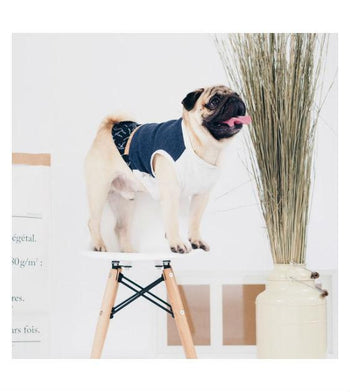 ohpopdog Oh! Basic Indigo Twigs Print and Cork-board Mix Tank Dog Apparel
