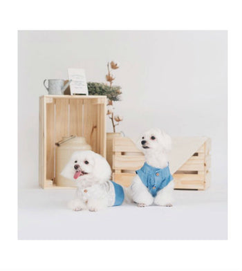 ohpopdog Oh! Basic Pintuck Soft Denim Polka Dot Shirt Dog Apparel