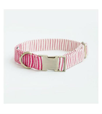 ohpopdog Oh! Basic Red Nautical Striped Dog Collar