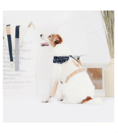 ohpopdog Oh! Indigo Twigs Cotton with Beige Canvas cotton and Natural Corkboard Mix Apparel Dog Harness