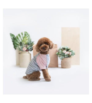 Ohpopdog Pink Grey Striped Raglan Dog Apparel