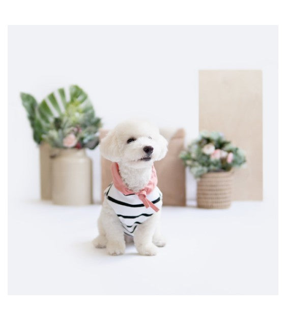 Ohpopdog Pink Linen Striped Hoodie Dog Apparel