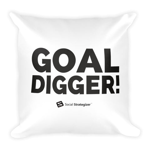 GOAL DIGGER - Square Pillow | White Stitch & Zipper