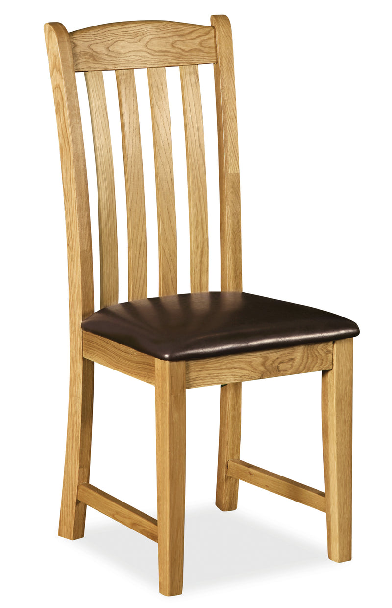 Alpine Oak Slatted Dining Chair with Cushioned Seat