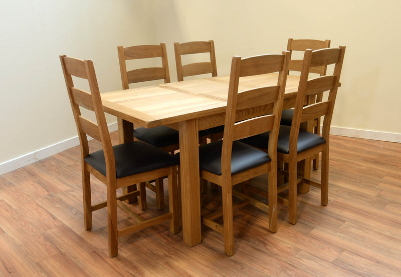 Alpine Oak Small Butterfly Extending Dining Table with 6 Triple Slat Oak Chairs