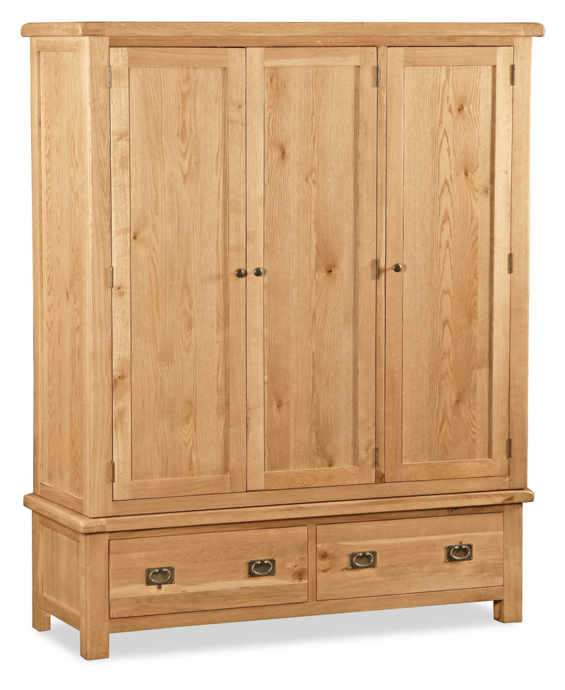 Alpine Oak Triple Wardrobe with 2 Drawers