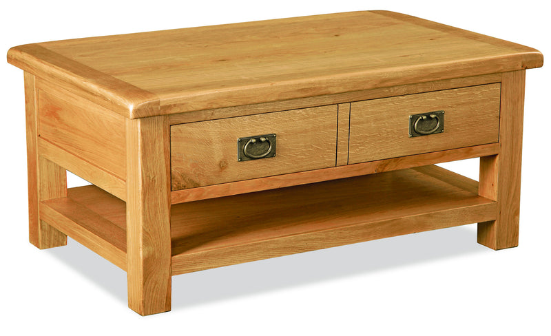 Alpine Oak Large Coffee Table with Drawer and Shelf