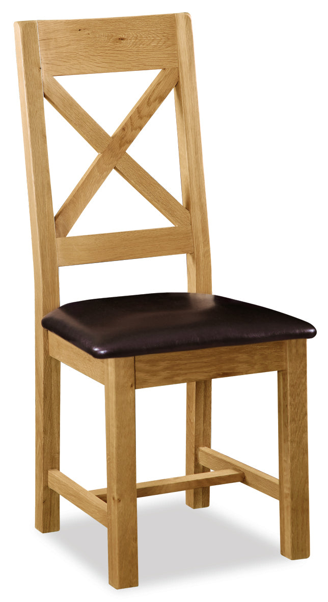 Alpine Oak Cross Back Dining Chair with Cushioned Seat