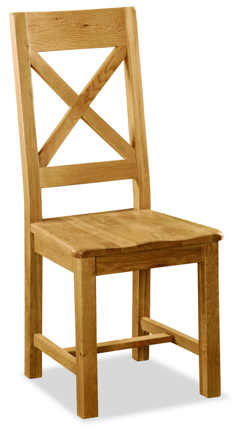 Alpine Oak Cross Back Dining Chair with Wooden Seat