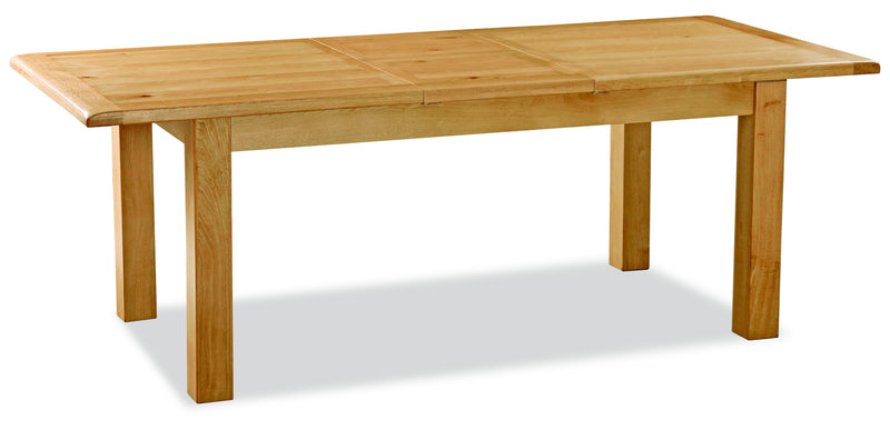 Alpine Oak Small Butterfly Extending Dining Table with 6 Cross Back Oak Chairs