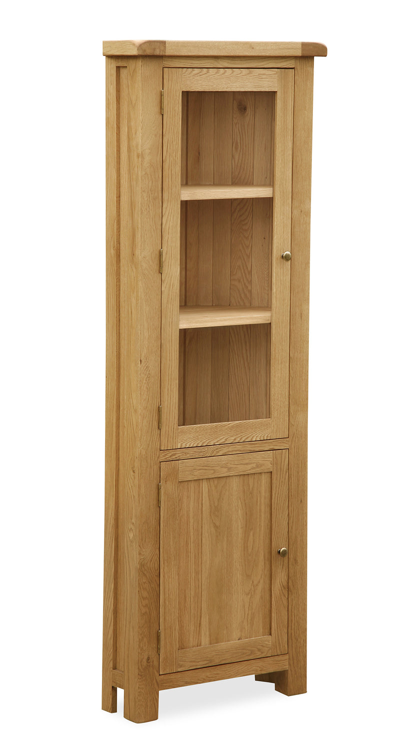 Alpine Oak Corner Display Cabinet