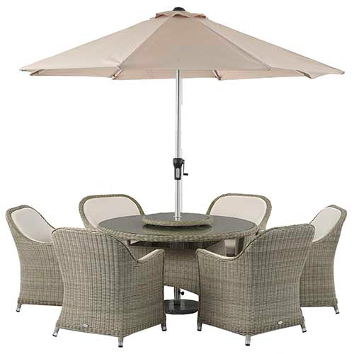 Monte Carlo 140cm Round Table with 6 seats