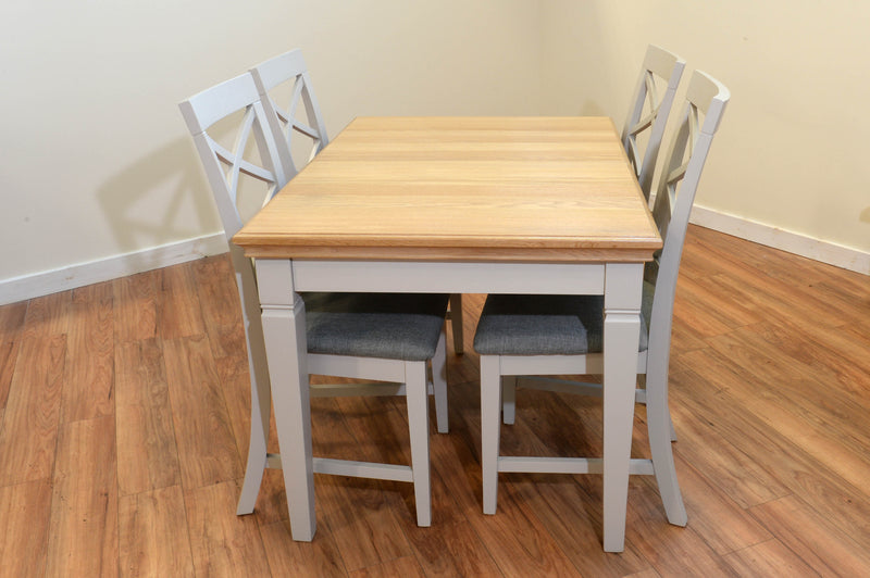Ivy Oak Compact Butterfly Extending Dining Table with 4 Cross Back Chairs