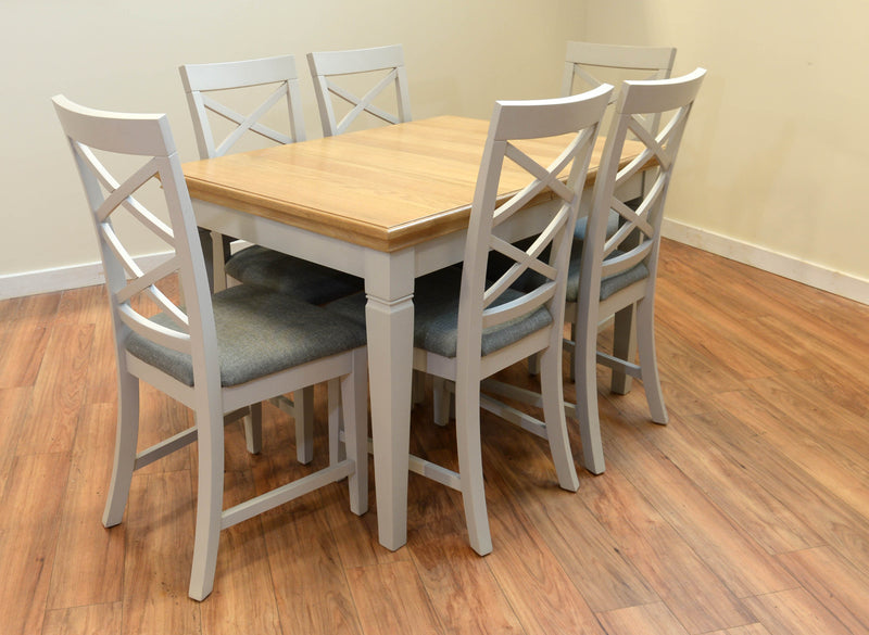 Ivy Oak Compact Butterfly Extending Dining Table with 6 Cross Back Chairs