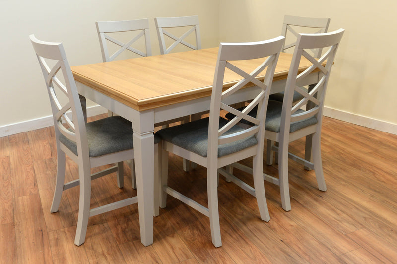 Ivy Oak Small Butterfly Extending Dining Table with 6 Cross Back Chairs