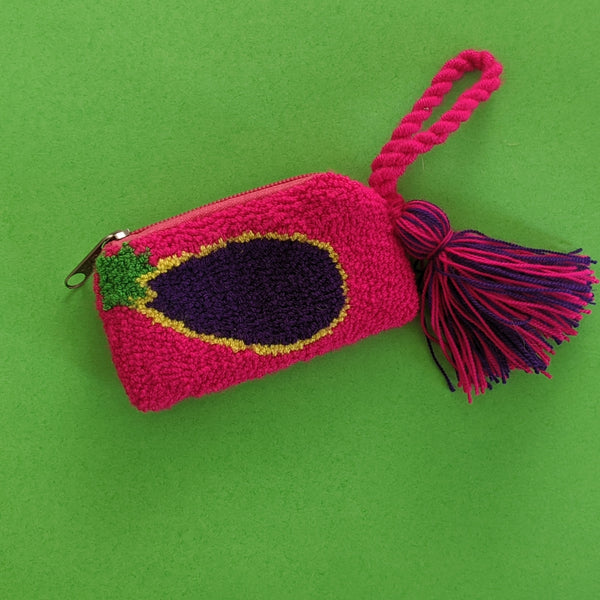 Fluro Mini Eggplant Purse