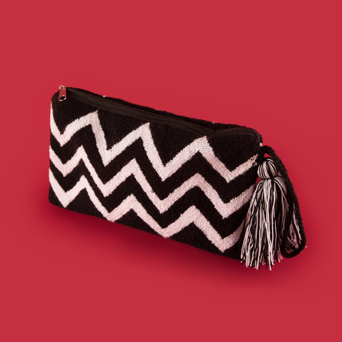 Large Black & White Clutch