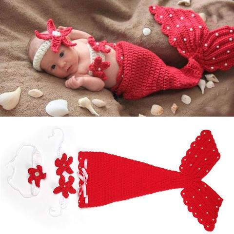 Crochet Knit Newborn Mermaid Tail Costume Baby Photography Props Clothes Animal Designs