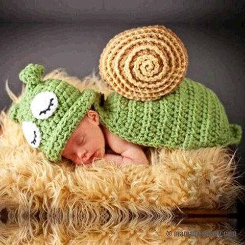 Cute Newborn Photography Props Snail Costume Hand Crochet Knit Infant Beanie Hat with shell