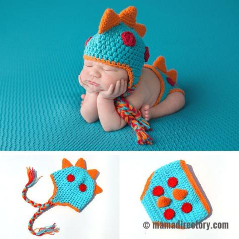 Newborn Baby Knitted Dinosaur Hat And Pants Set