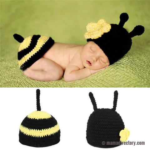 Newborn Photography Props Baby Bee Costume Crochet Outfit for 0-12 Months