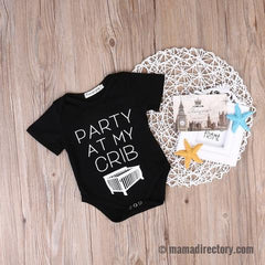 'Party at my crib' Cotton Baby Funny Romper - available in Black or White